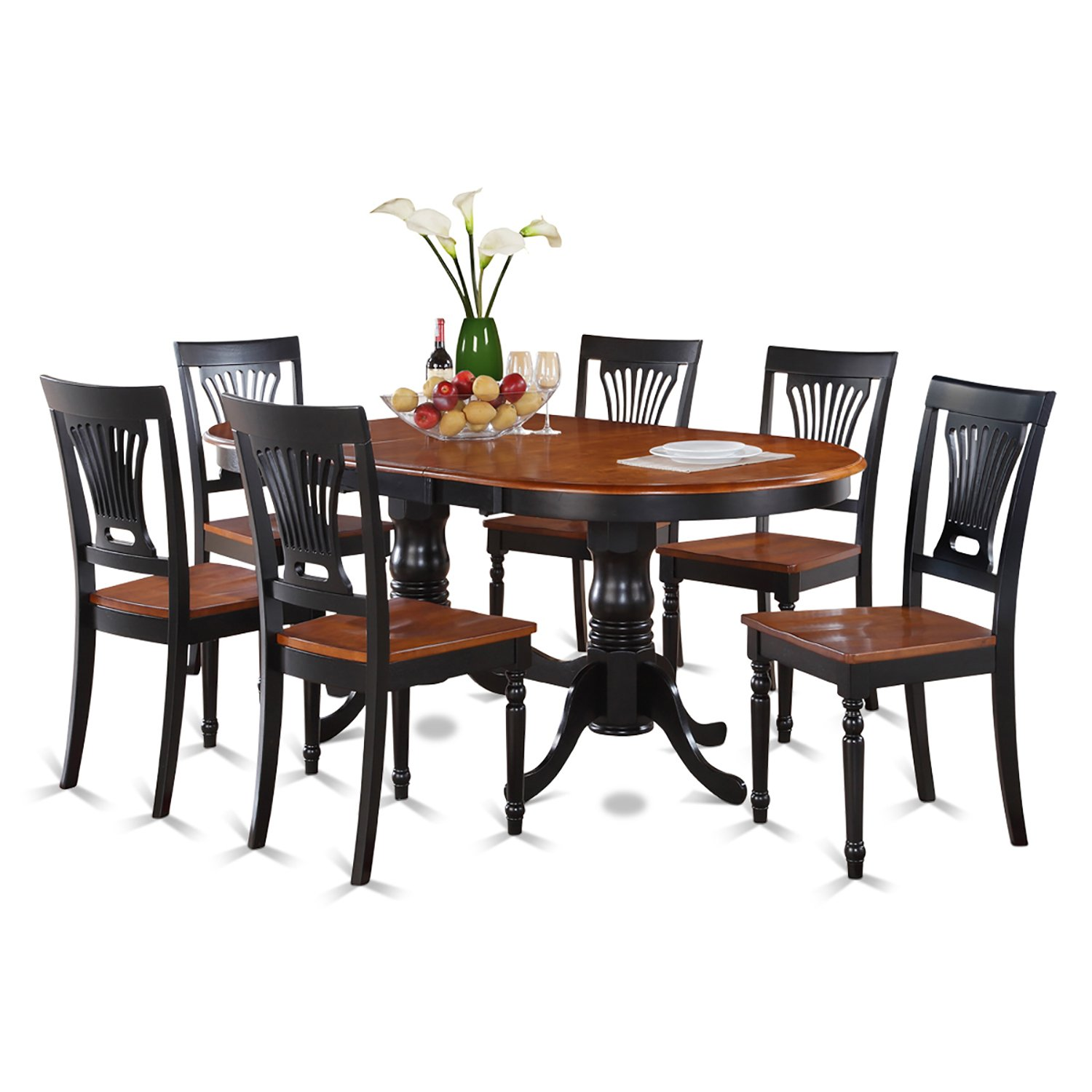 Amazon.com: East West Furniture PLAI7 BLK W 7 Piece Dining Table Set:  Kitchen U0026 Dining