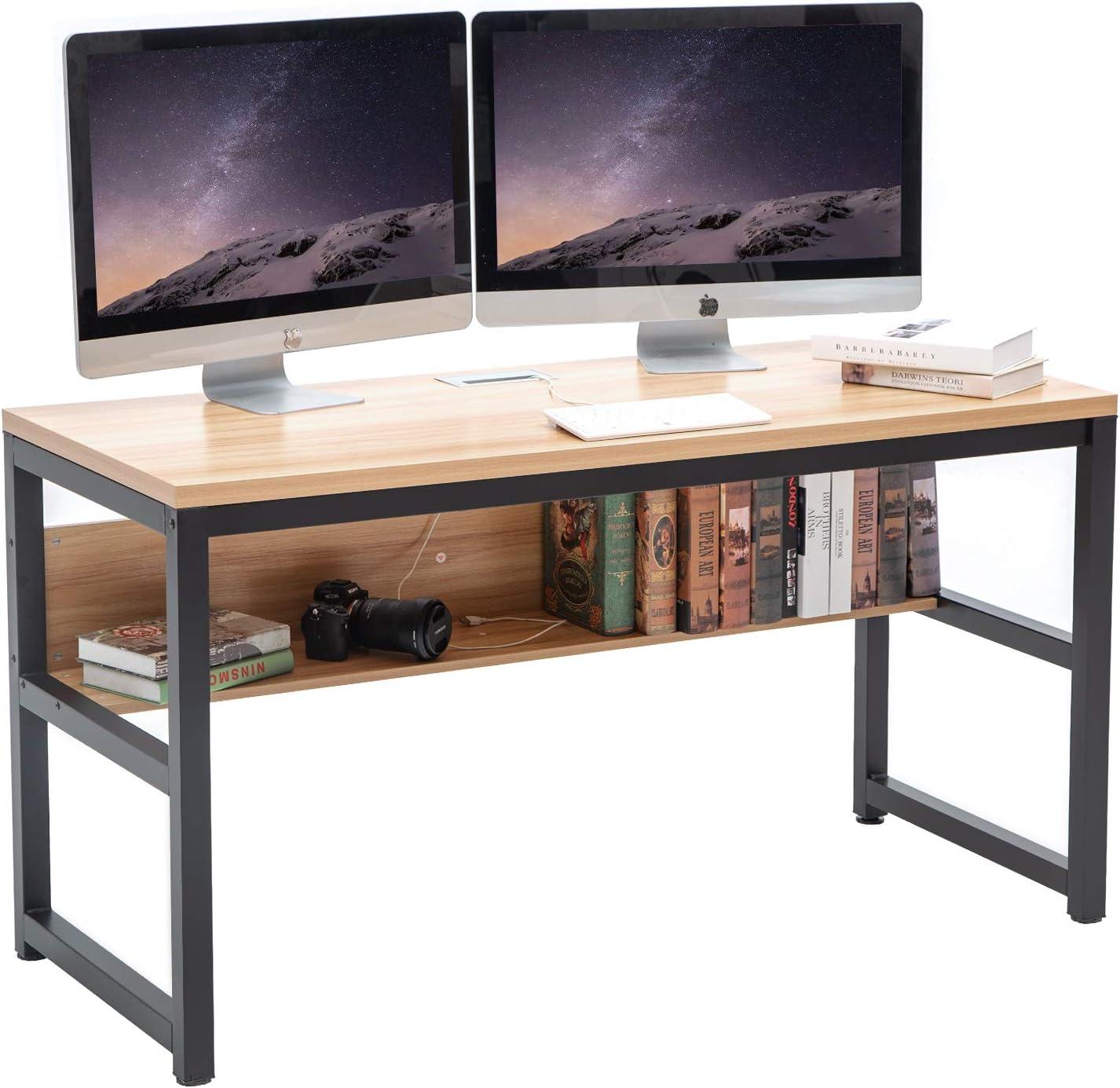 """TOPSKY 55"""" Computer Desk with Bookshelf/Metal Desk Grommet Hole Wire Cover (Natural+Black Frame)"""