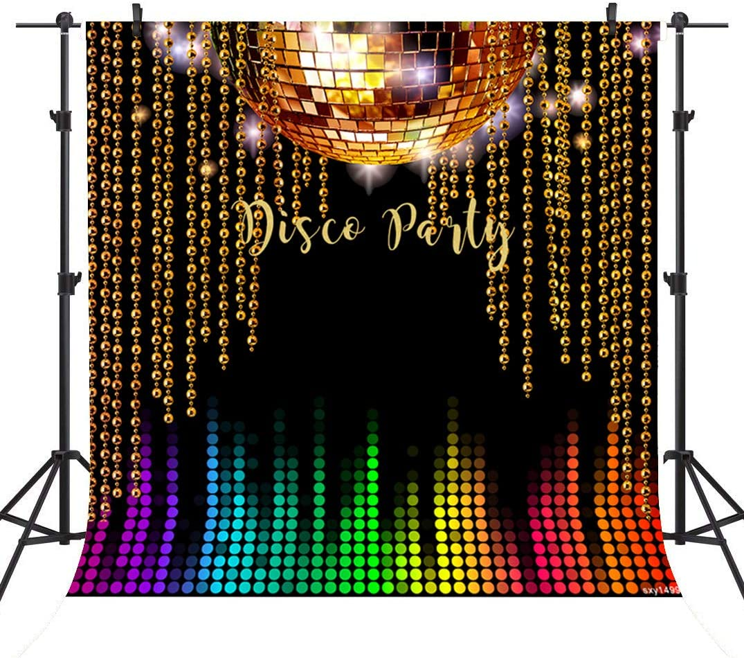 10x10ft Vinyl Photography Backdrop Disco Party Shiny Stars Fluorescent Light Rays 70s 80s 90s Background for Photography Portrait Photo Props Party Decor Video Studio Photo Booth Backdrop