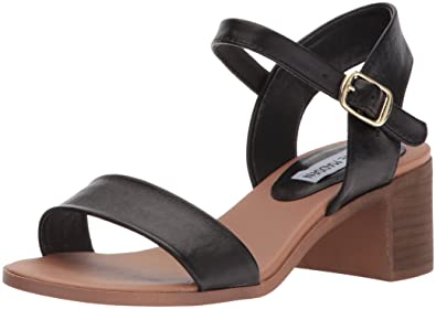 Steve Madden Women's April Heeled Sandal, Black Leather, ...