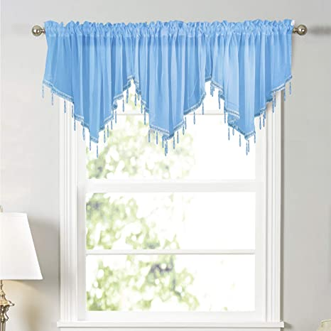 Molaxhome Swag Curtain 63 Inch Length Rod Pocket Scalloped Curtain Valance Sheer Lace Panels With Hanging Crystal Beads For Farmhouse Kitchen Bedroom Window Treatments Drape Decor 63inch Blue Amazon Co Uk Kitchen Home