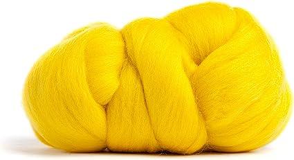 Wet Felting YELLOW- American Farm Spinning Merino Wool Batt- Needle Felting