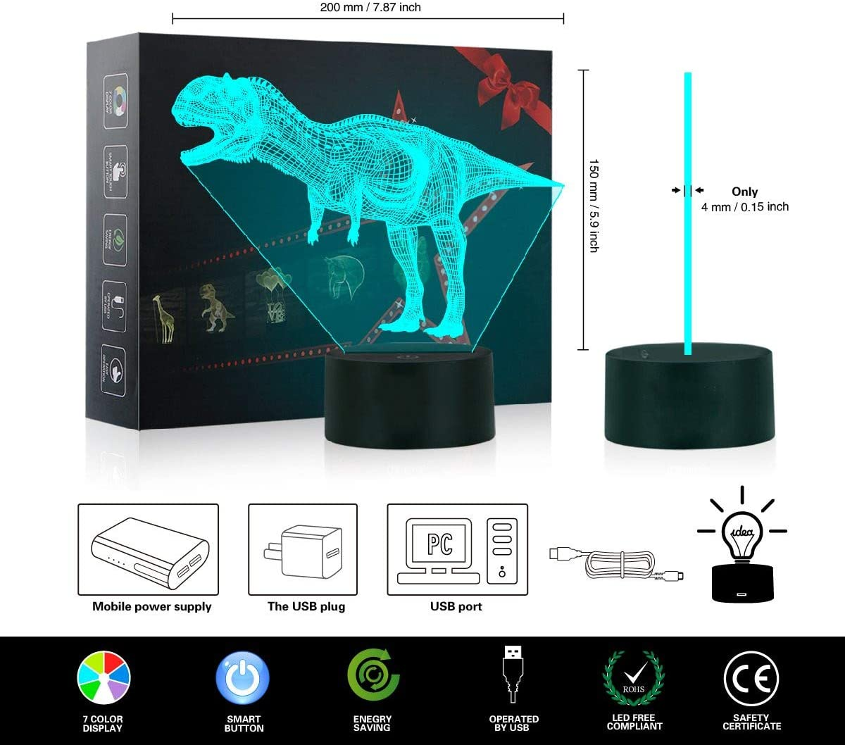 3D Illusion Lamp Dinosaur Perfect Gifts Birthday Festival Christmas for Baby Teens Friends 3D Night Light for Boys Girls Table Desk Lamp 7 Color Change Decor Lamp