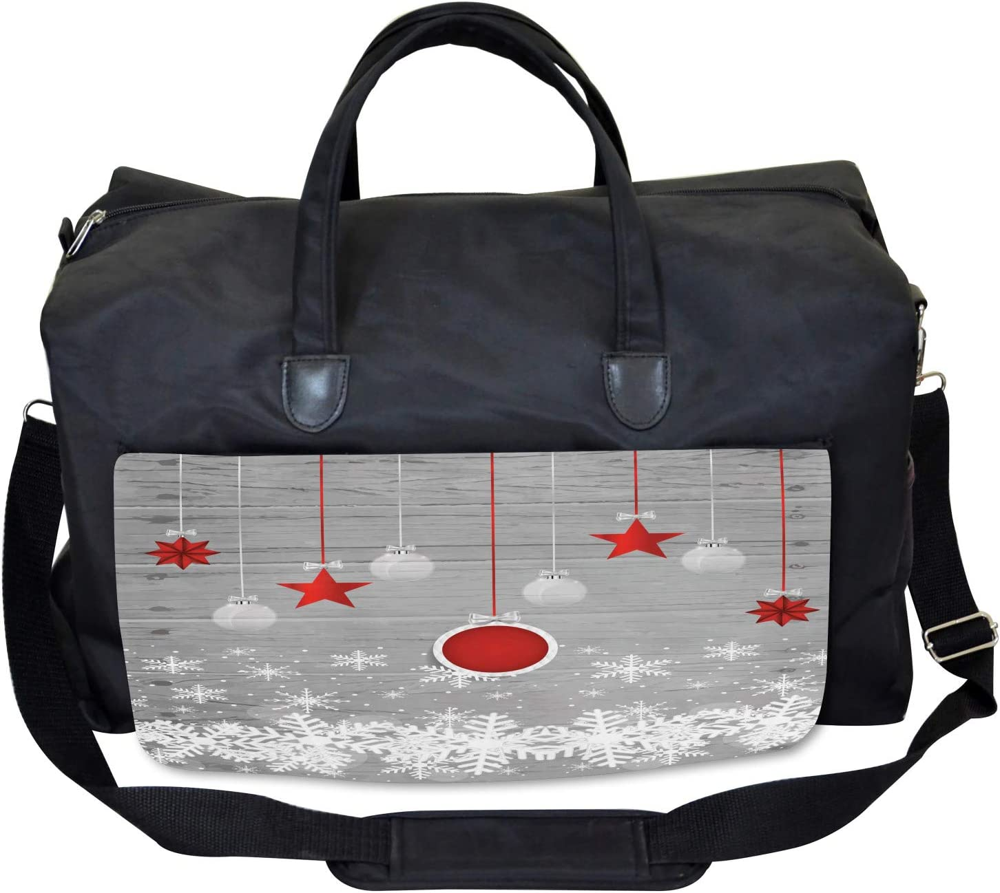 Ambesonne Christmas Gym Bag Stars Baubles Snow Large Weekender Carry-on