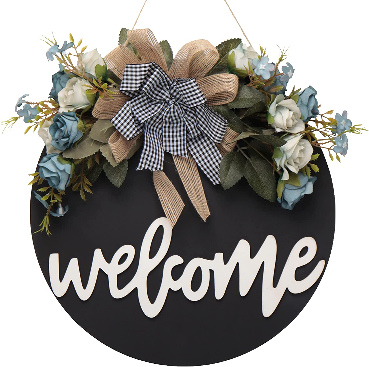 Welcome sign for front door hello spring wreaths for front door decor summer fall wreath welcome home sign Wreaths for Front Door Farmhouse wall Decor Porch wreath for front door Decorations Gifts (A)