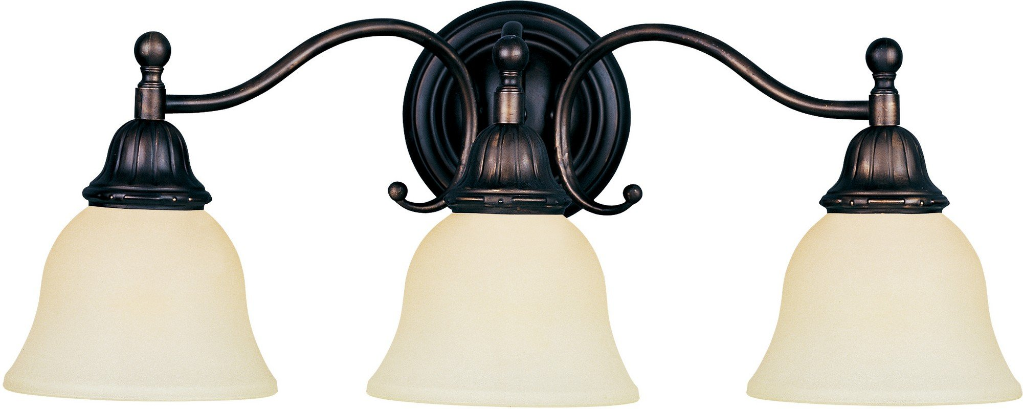 Maxim 11058SVOI Soho 3-Light Bath Vanity, Oil Rubbed Bronze Finish, Soft Vanilla Glass, MB Incandescent Incandescent Bulb , 40W Max., Dry Safety Rating, 2900K Color Temp, Standard Dimmable, Metal Shade Material, 4800 Rated Lumens