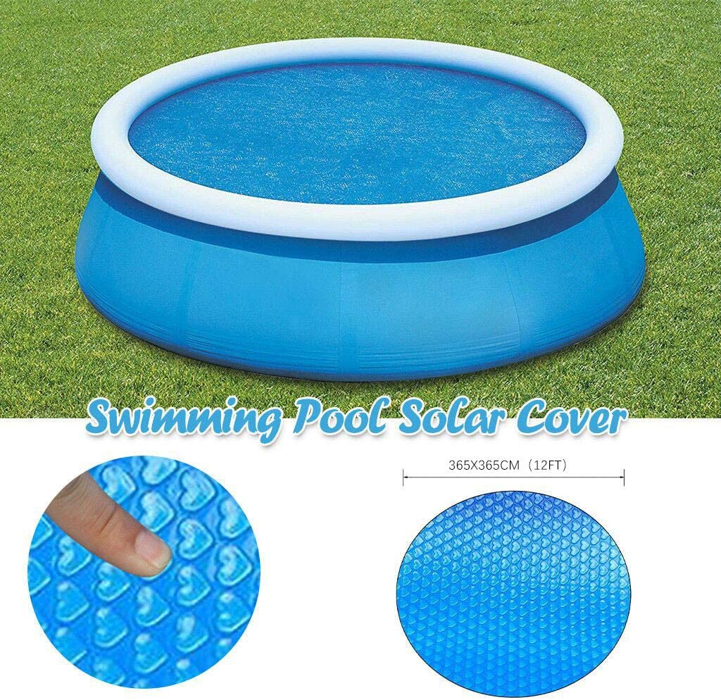 12ft Solar Cover for 8//10//12//15 ft Diameter Easy Set and Frame Pools Round Pool Cover Protector Foot Above Ground Blue Protection Swimming