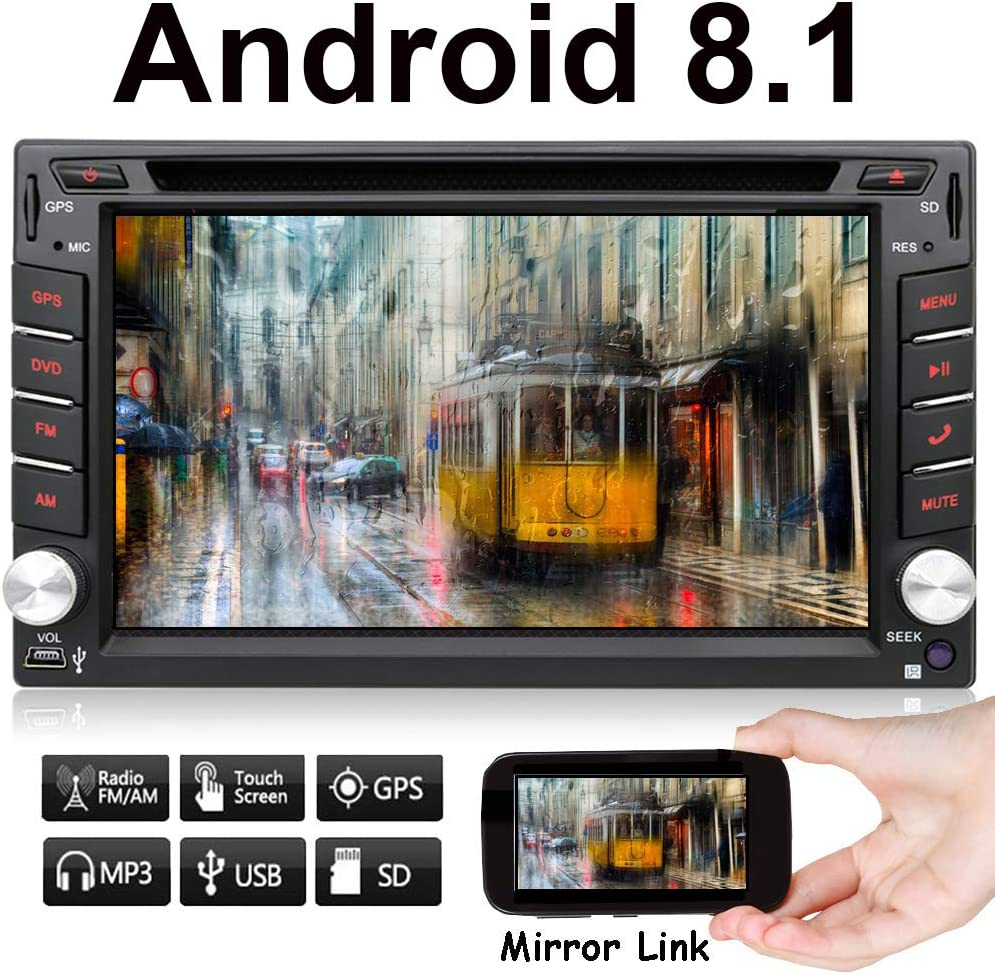 Android Auto 7.1 de 6.2 pulgadas, navegación GPS para coche, doble DIN 2 DIN, radio estéreo para coche, GPS BT USB/reproductor de DVD universal, cámara de reserva gratuita: Amazon.es: Electrónica