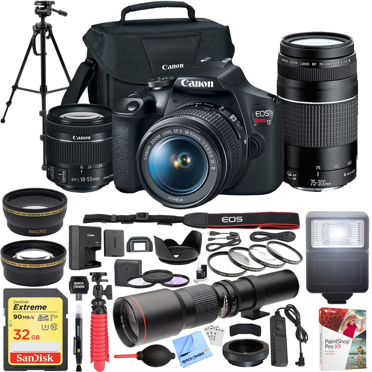 Canon EOS Rebel T7 DSLR Camera with EF18-55mm with EF 75-300mm Double Zoom Kit Bundle with 500mm Preset Telephoto Lens, 32GB Memory Card, Tripod, Paintshop Pro 2018 and Accessories (10 Items)