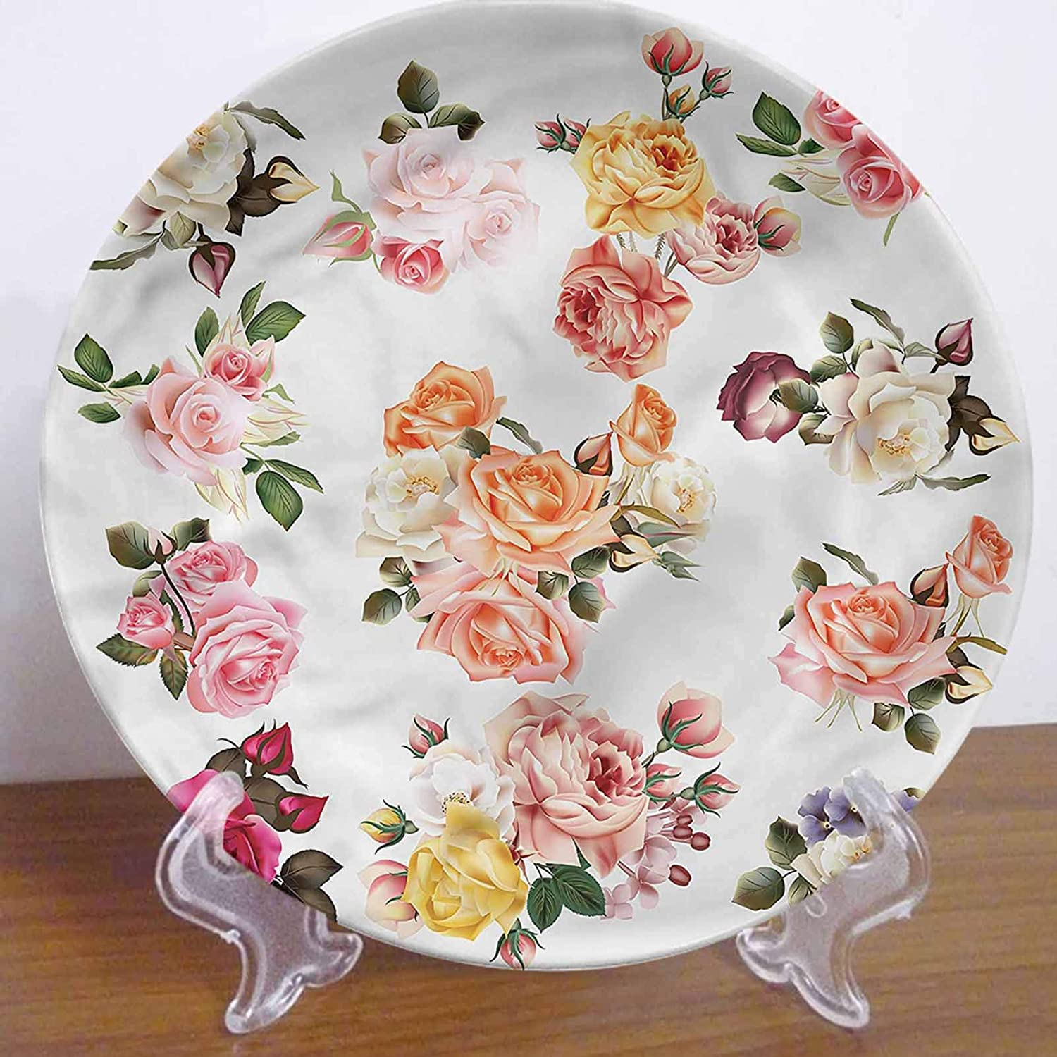 10 Inch Flower Pattern Ceramic Hanging Decorative Plate,Realistic Roses with Leaves Tableware Plate Ceramic Ornament for Home&Office Wall Decors Family Sentiment
