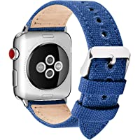 Fullmosa Compatibile Cinturino Apple Watch 44mm 42mm 40mm 38mm,8 Colori Canvas Nato Stile per Cinturino Iwatch Compatibile con Apple Watch Series 4 (44mm 40mm) Series 3,2,1 (42mm 38mm),38mm Blu