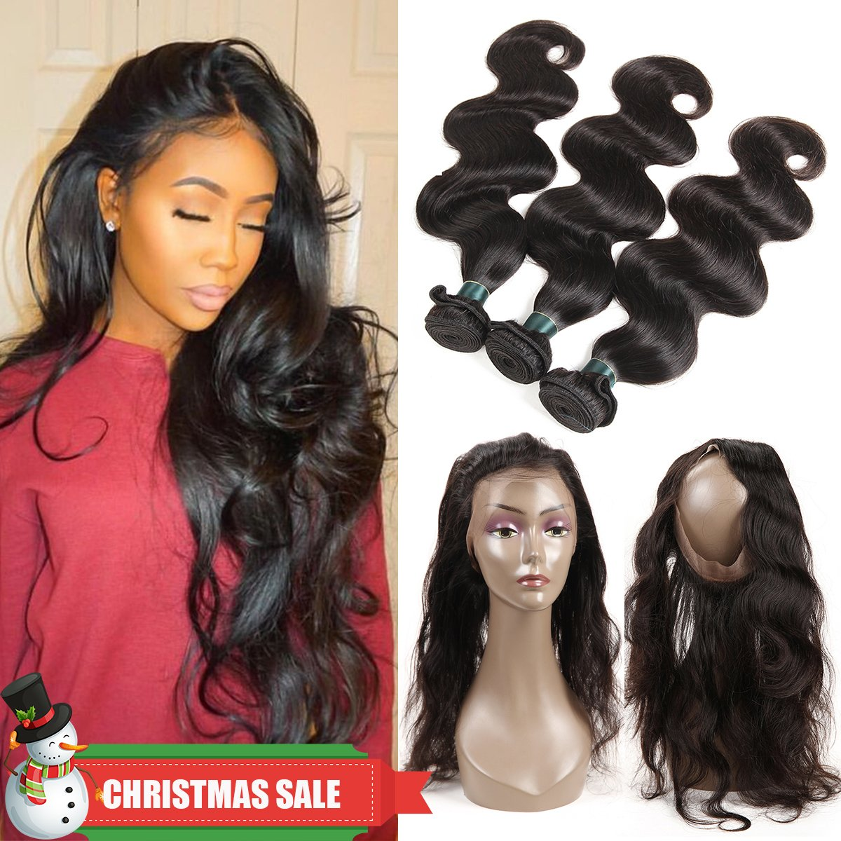 360 Lace Frontal with Bundles Pre Plucked 8A Brazilian Body Wave Bunldes with 360 Lace Frontal Closure 100% Human Hair Extensions with Frontal Closure Baby Hair (14 16 18+12 360Frontal)