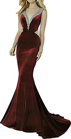 YSMei Womens Long V Neck Velvet Evening Prom Dress Bead Backless Formal Party Gown Burgundy Custom