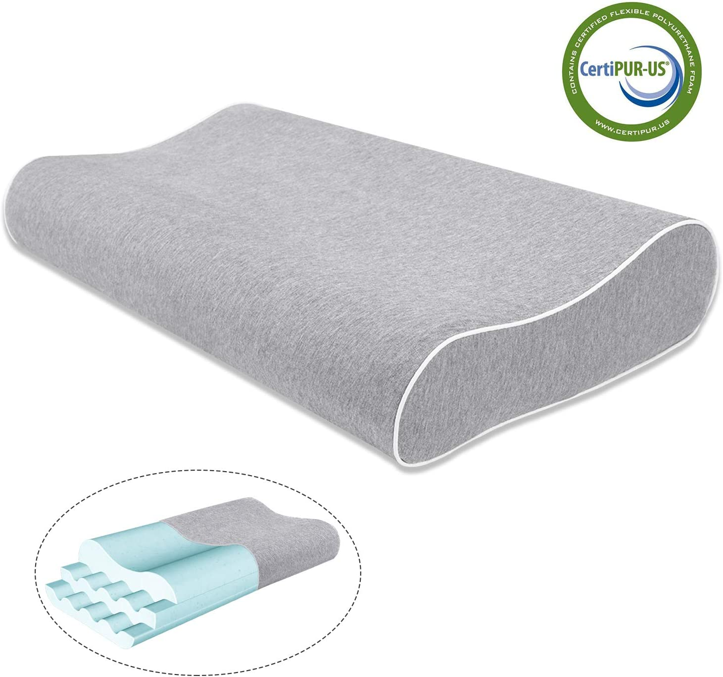 Mugetu Gel Infused Memory Foam Pillow Height Adjustable Cervical Pillow Supportive Contour Bed Pillow Neck Support for Back and Side Sleepers