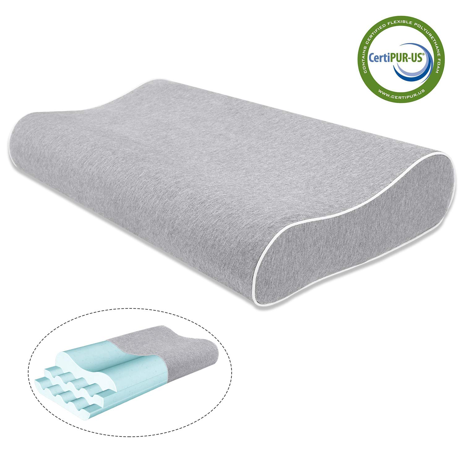 Mugetu Gel Infused Memory Foam Pillow Height Adjustable Cervical Pillow Supportive Contour Bed Pillow Neck Support for Back and Side Sleepers by Mugetu