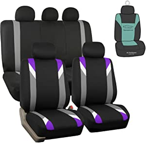 FH Group FH-FB033115 Premium Modernistic Seat Covers, Airbag & Split Ready, Purple/Black- Fit Most Car, Truck, SUV, or Van