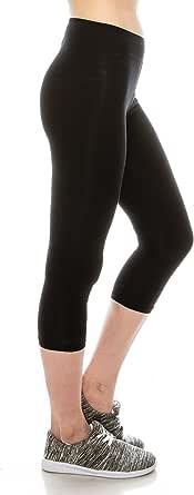 Cotton Spandex Basic Leggings Pants- Jersey Full or Capri Regular and Plus Size