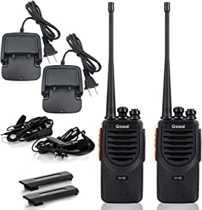 Greaval GV-9S Rechargeable Walkie Talkies for Adults Long Range with Li-ion Battery + Earpiece + USB Charing + Desktop Charger Two-Way Radios UHF 16CH VOX (2Pack)