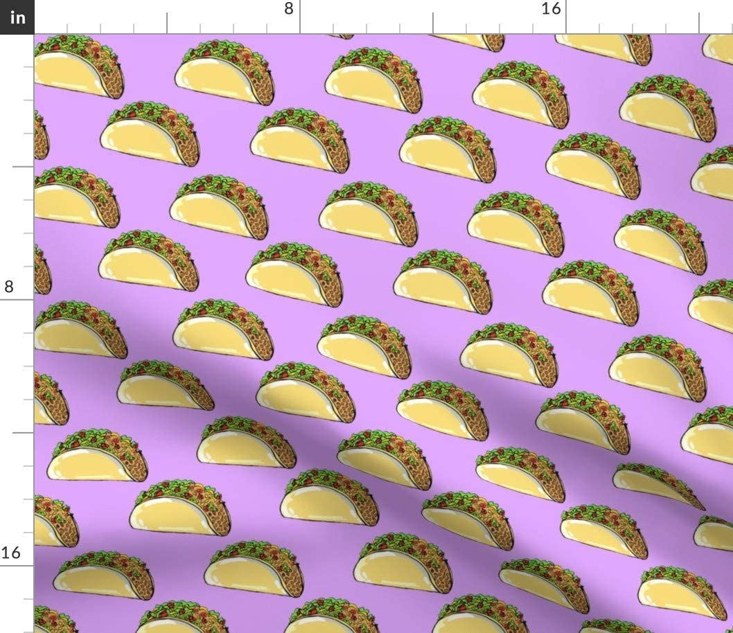 Spoonflower Fabric - Tacos Purple Taco Food Novelty Mexican Hipster Printed on Petal Signature Cotton Fabric by The Yard - Sewing Quilting Apparel Crafts Decor