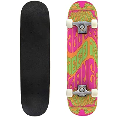 Classic Concave Skateboard All we Need is Love Psychedelic Art Poster Vintage Decor and Colors Longboard Maple Deck Extreme Sports and Outdoors Double Kick Trick for Beginners and Professionals : Sports & Outdoors