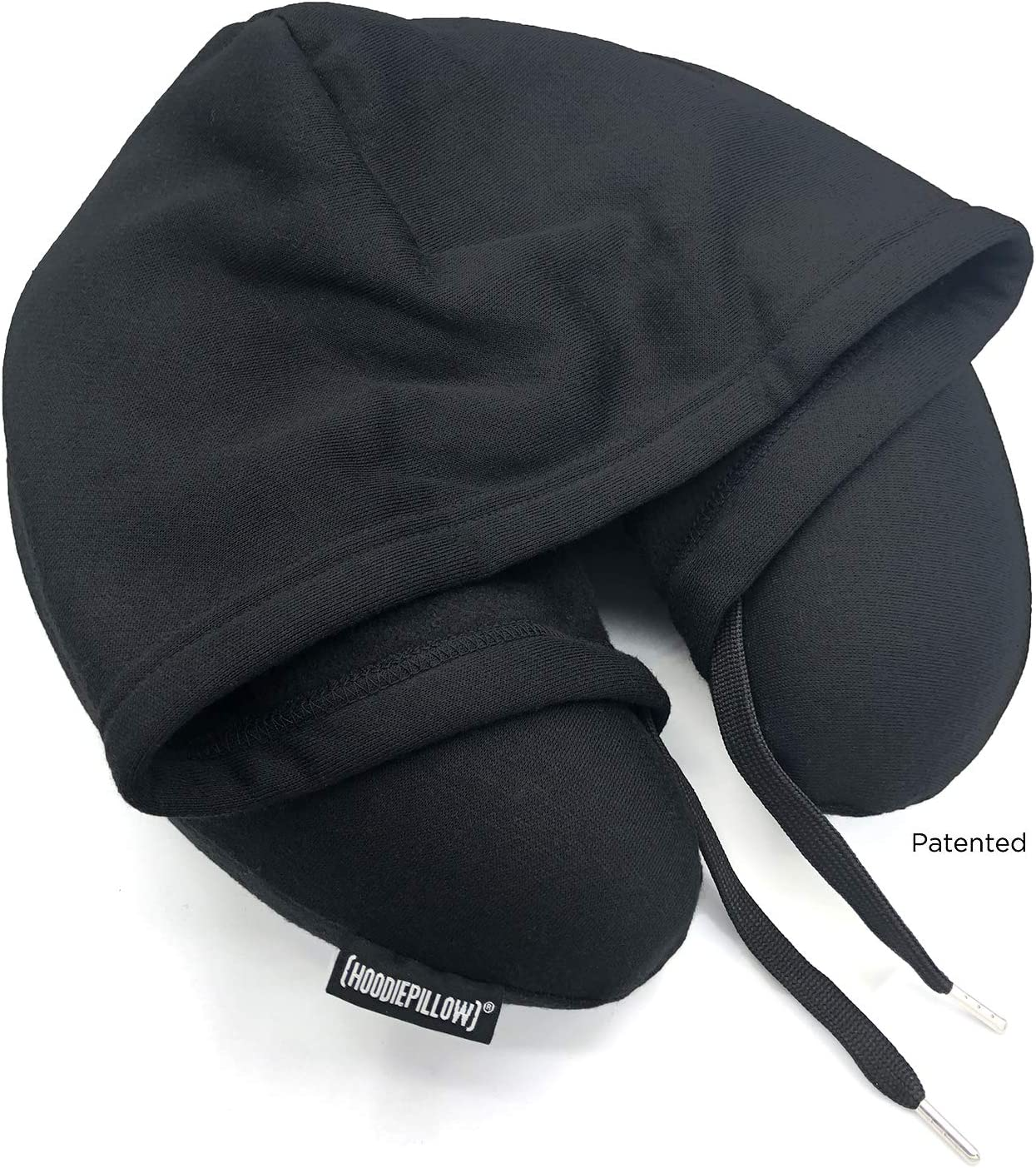 HoodiePillow Brand Memory Foam Hooded Travel Pillow - Black
