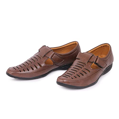 47cd0d4558dccd Emosis Men 289 Stylish Tan Brown Black Color Outdoor Formal Casual Ethnic  Loafer Slip-On Sandal Shoe: Buy Online at Low Prices in India - Amazon.in