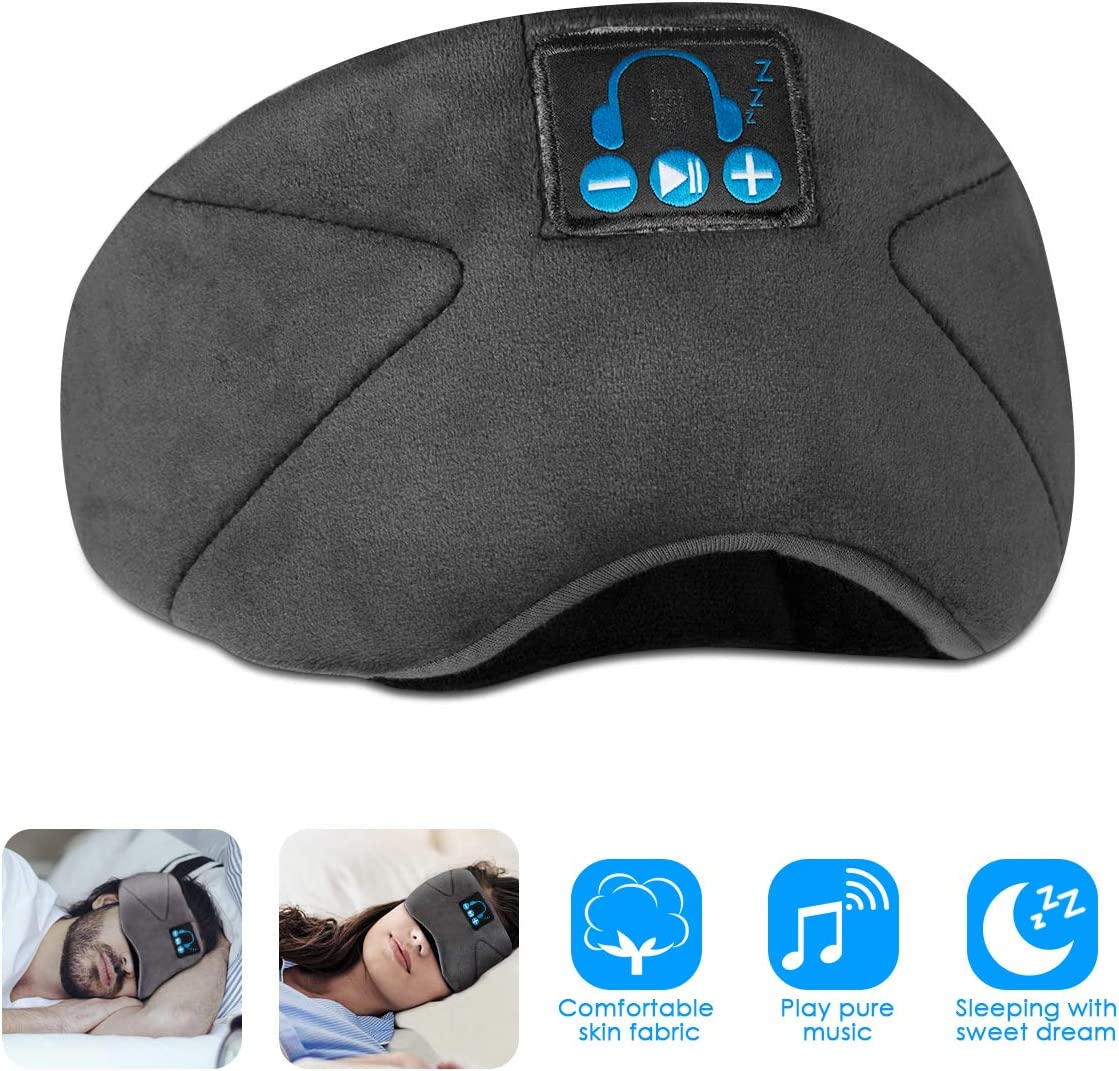 Bluetooth 5.0 Music Sleeping Eyeshade pour casque Couvre ombre de sommeil r/églable pour Travel Siesta SunshineFace Masque oculaire Bluetooth