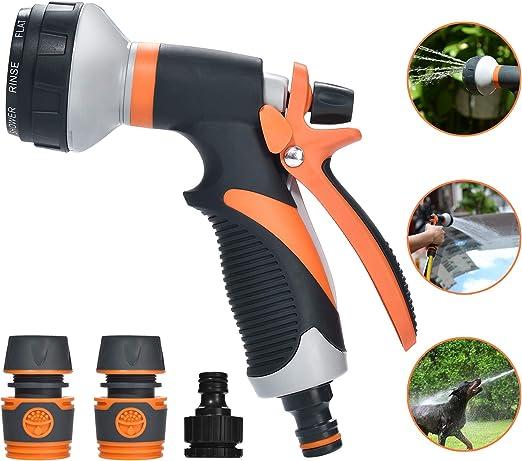 moinkerin Pistola de Riego Pistola Agua Jardin Pistola Manguera para Regar Plantas o Céspedes, Limpiar Mascotas, Limpiar Ventanas: Amazon.es: Jardín