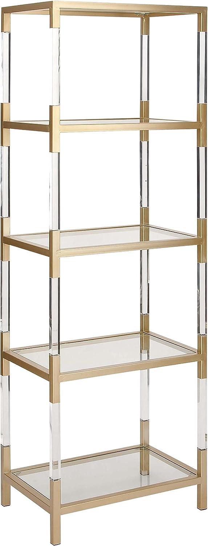 Deco 79 Classy Metal Glass Acrylic Shelf Gold Clear