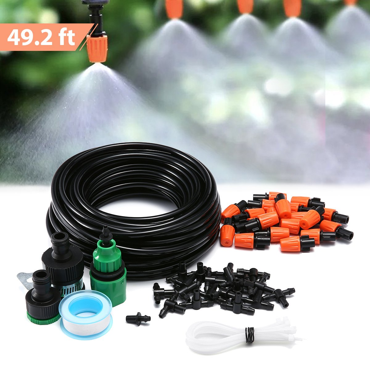 KINGSO Patio Spray Misters Watering System Kits Accessories for Outdoor Garden Greenhouse Nozzles Misting Cooling With 49.2ft, 4/7 Blank Distribution Tubing Hose, Instruction