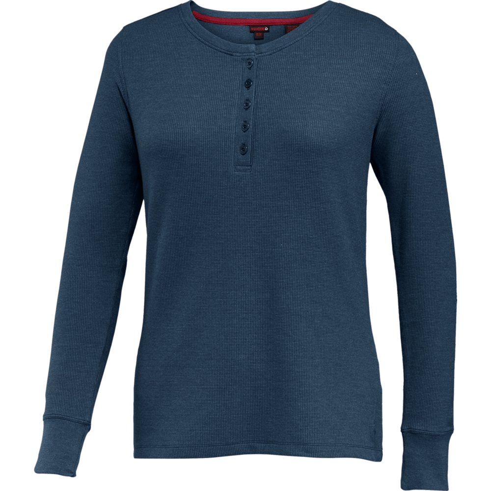 Wolverine Women's Belle Long Sleeve Thermal Henley, Midnight Heather, X-Large