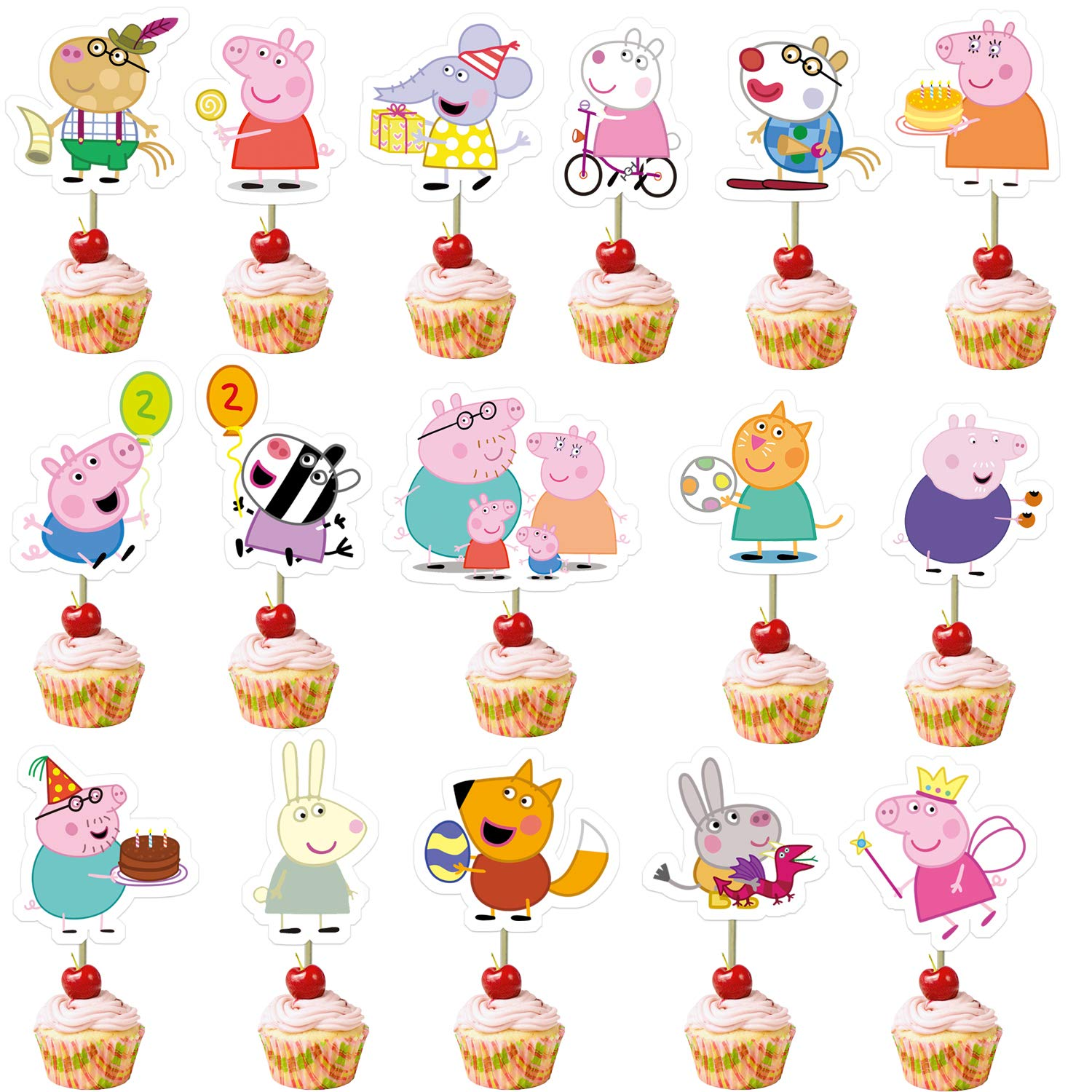 32Pcs Cute Pigs Cupcake Toppers for Baby Shower and Happy Birthday Cupcake Decor,16 Styles