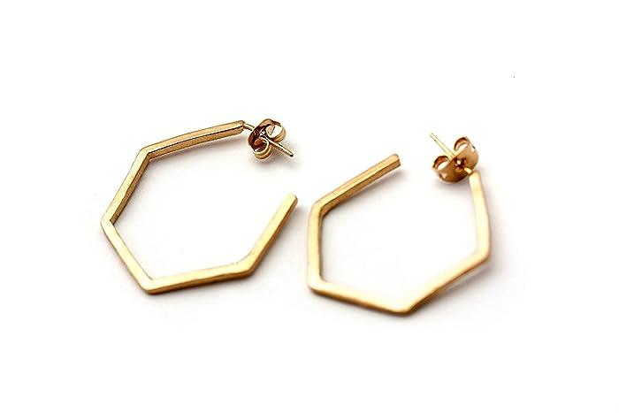 da4da98a53f49 Amazon.com: Gold hoop earrings, hexagon earring,every day earrings ...