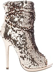 Liliana Multi Color Sequins Peep Toe High Heel Above Ankle Bootie