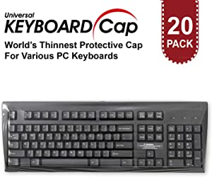 Fully Covered Flat Style Easily Sanitized Universal Wipeable 0.025mm Superb Tactile Feeling Waterproof Anti-Dust Keyboard Cap Cover for Desktop Keyboard with Numeric Hospital/Dentist Use [20 Pack]