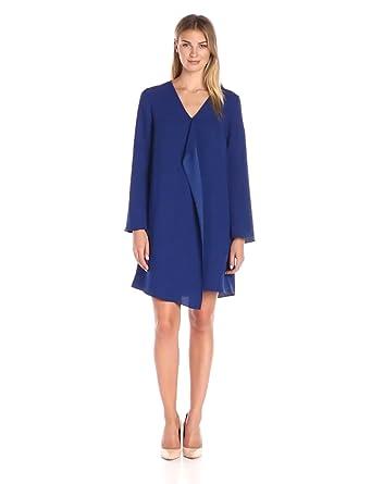 281d25b331efcb Amazon Brand - Lark & Ro Women's Long Sleeve Cascade Ruffle Shift Dress,  Majestic Blue
