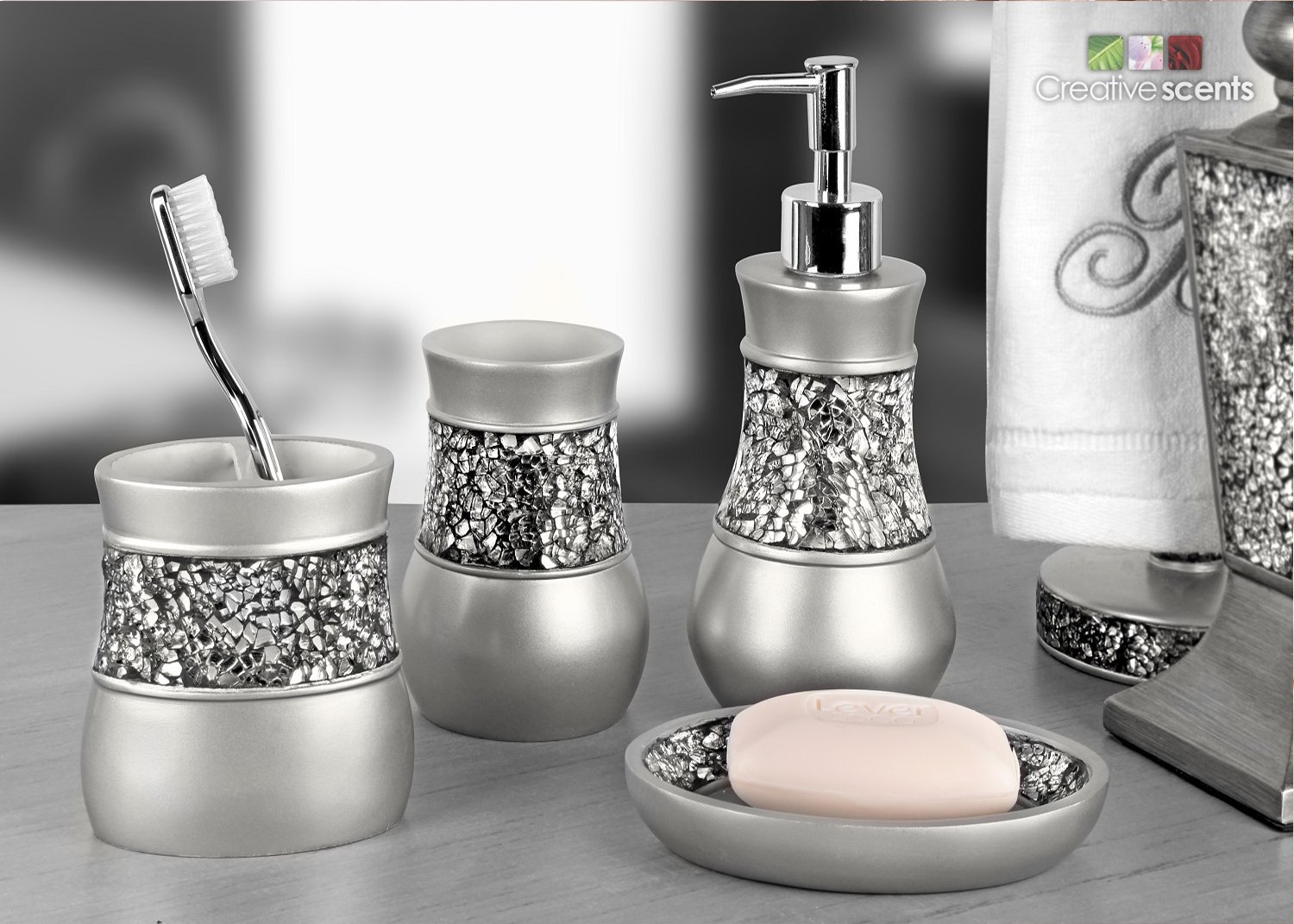 Amazon com  Creative Scents Brushed Nickel Bathroom Accessories Set  4  Piece Bath Ensemble  Bath Set Collection Features Soap Dispenser Pump. Amazon com  Creative Scents Brushed Nickel Bathroom Accessories
