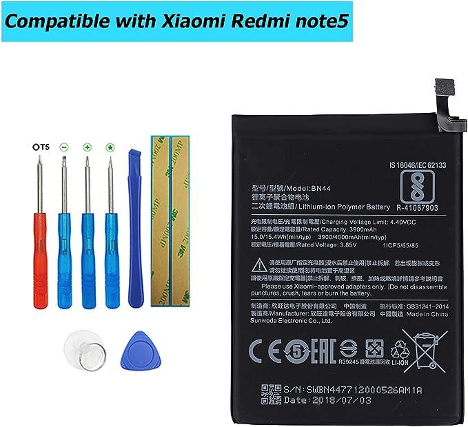 Upplus E-YIIVIIL BN44 Batería de repuesto compatible para Xiaomi Redmi note5 Redmi 5 Plus con kit de herramientas: Amazon.es: Electrónica