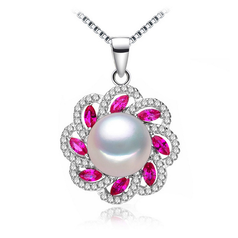 MMC Womens Necklaces Pearl Ruby Stone Bridel Pendants