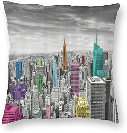 Pamela Hill Nyc Cityscape Monochrome With Colorful Buildings Urban Architecture Throw Pillow Covers Cases Soft Cushion With Hidden Zipper 18 X18 Amazon Co Uk Kitchen Home