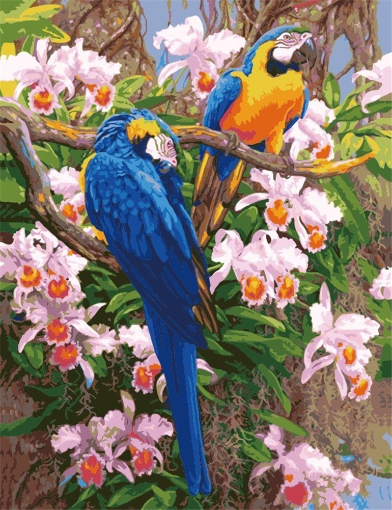 YEESAM ART DIY Paint by Numbers for Adults Beginner Kids, Parrot Birds, Flowers Tree 16x20 inch Linen Canvas Acrylic Stress Less Number Painting Gifts