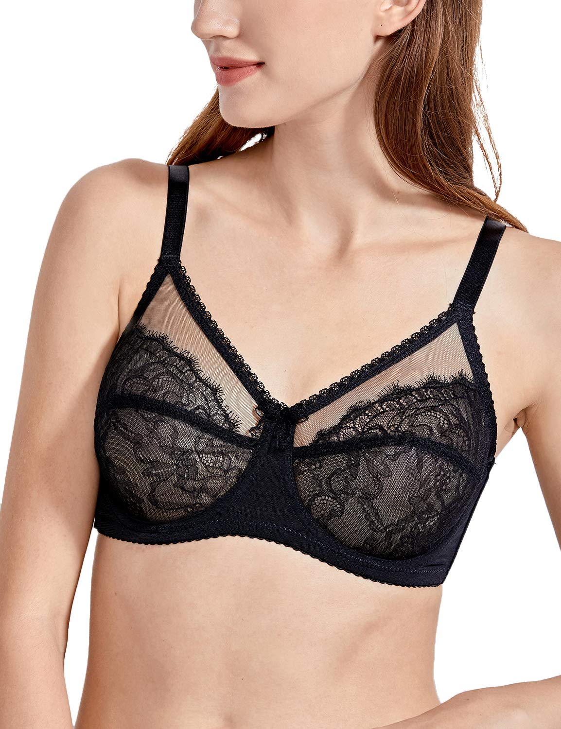 7d260690c0 DELIMIRA Women s Sheer Lace Unlined Full Cup Plus Size Underwire Bra Full  Figure Bra Black 44D