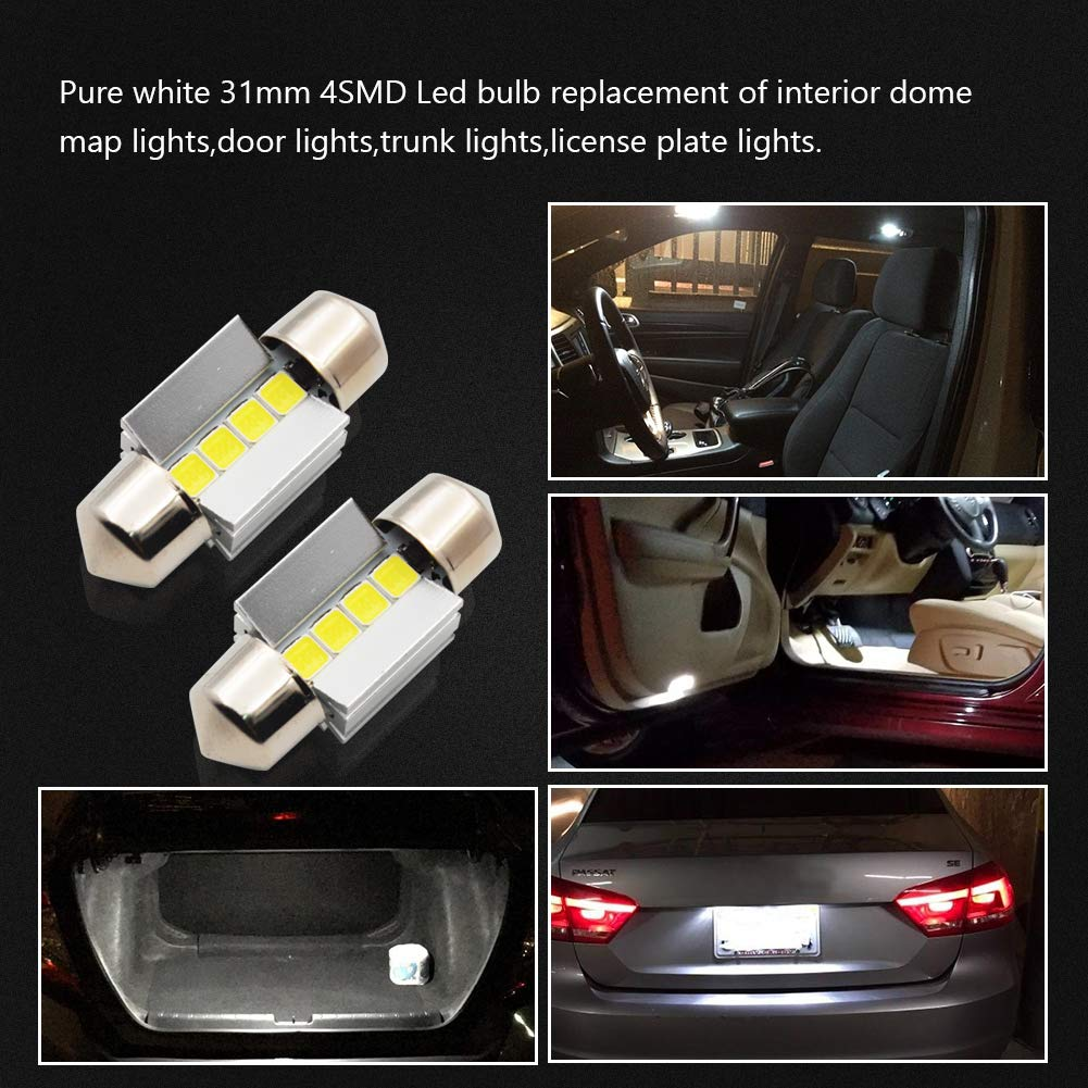 LncBoc 31mm 1.22 Festoon LED C5W Bulbs 4-SMD 3030 LED White Replacement Bulb with Aluminium Sink for Car Interior Dome Light License Plate Trunk Light DC 12V Pack of 2