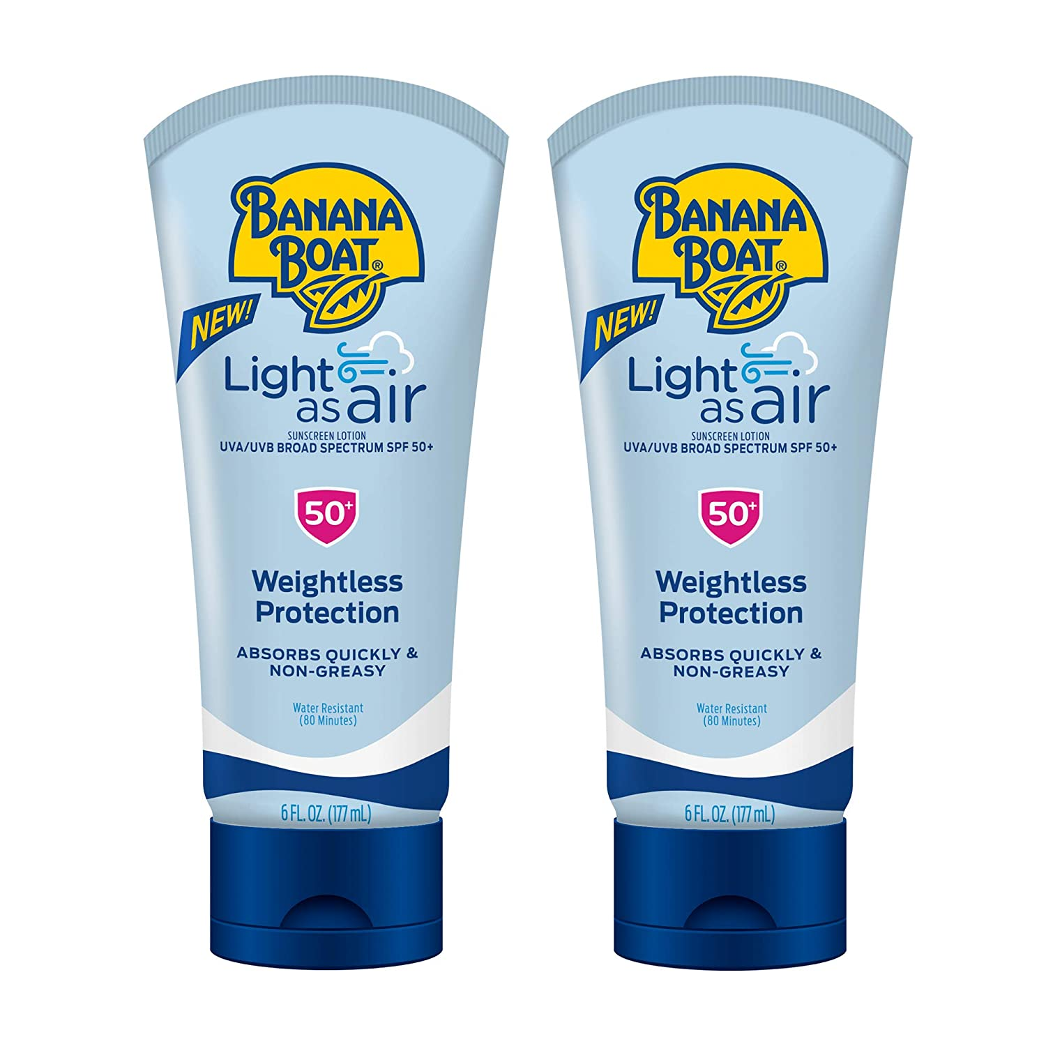 Banana Boat Light As Air Reef Friendly Sunscreen Lotion, Broad Spectrum SPF 50, 6 Ounces - Twin Pack