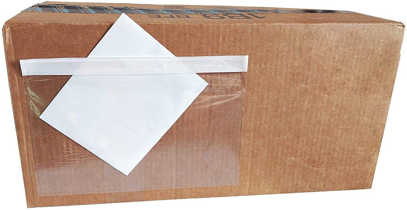 6 x 9 Clear Adhesive Top Loading Packing List Shipping Label Pouches 100-Pack