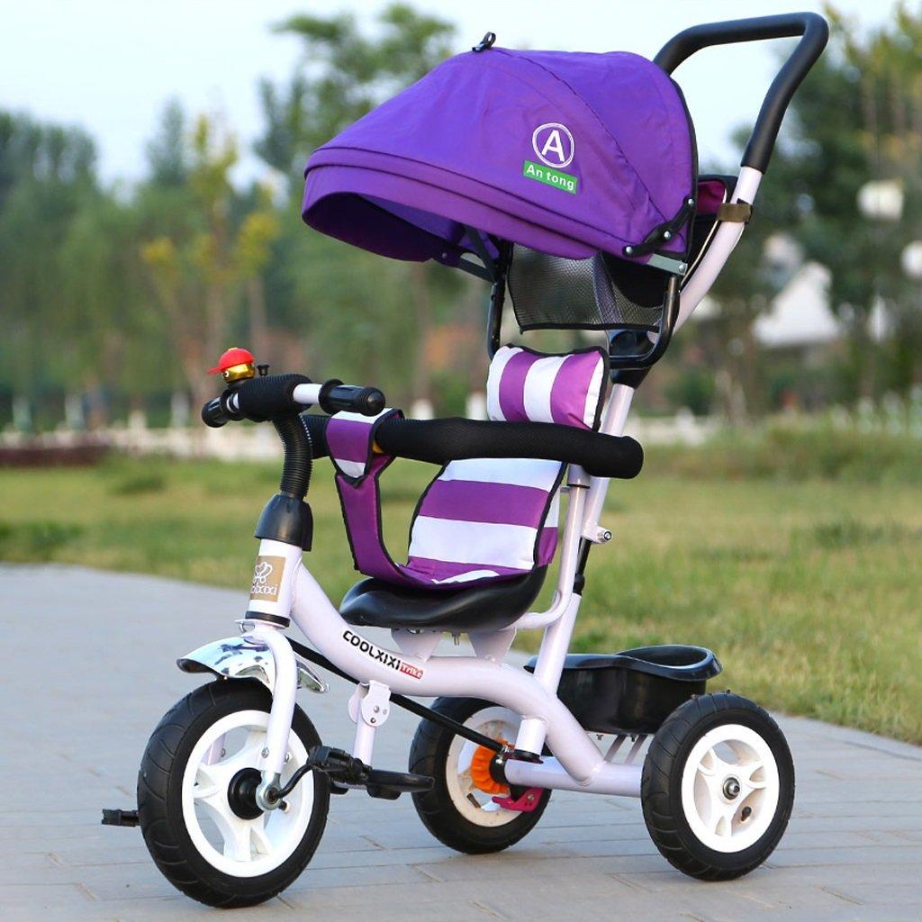 Fenfen Triciclo infantil Bicicleta 1-5 Rueda de titanio Cochecito de bebé Bicicleta de bebé, Púrpura/Verde, 90  50  105cm (Color : Purple)