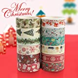 Christmas Washi Tape Set, 12Rolls Merry Christmas Masking Tape Decorative Duct Tape for Xmas Decorations Christmas Party…