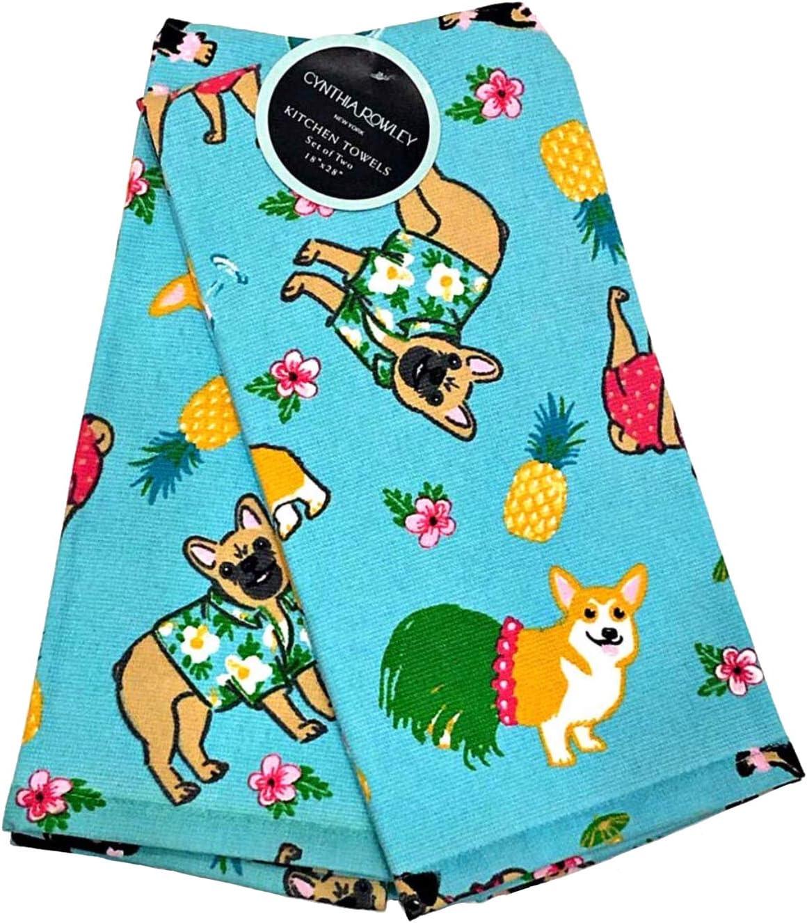 "Kitchen Towels Set of 2 dish hand 18x28/"" Cynthia Rowley ~ Dog ~ Pug Life"