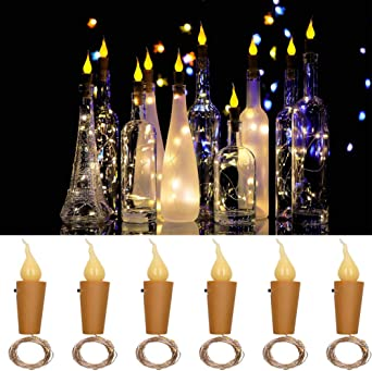 Luces de botellas Llamas de corcho Luces en forma de vino Vidrio ...