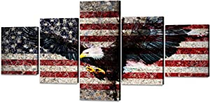 Vintage Bald Eagle USA US American Flag Wall Art Canvas Painting Rustic Eagle Flag Thin Red Line Poster Artwork Print Homer Decor Giclee for Living Room Office Framed Ready to Hang (50''W x 24''H)